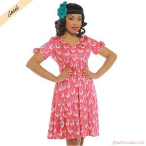 [Lindy Bop] Paula Pink Llama Print Day Dress